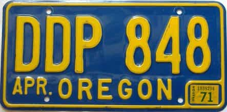 1971 Oregon  (Single) license plate for sale