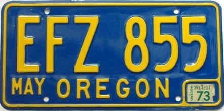 1973 Oregon  (Single) license plate for sale
