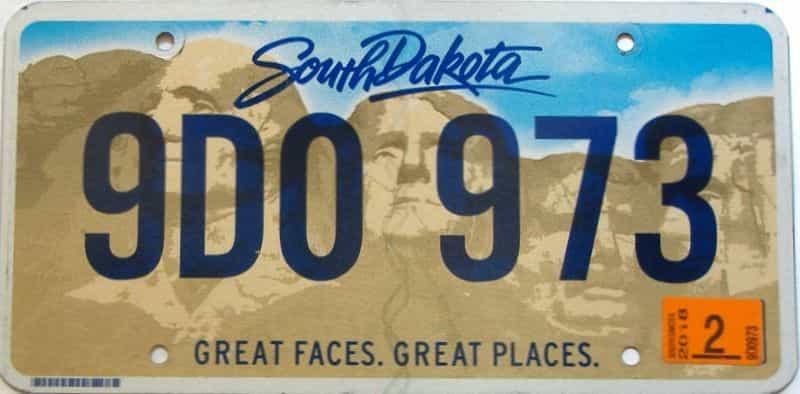 2018 South Dakota  (Single) license plate for sale