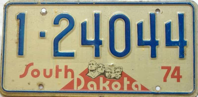 1974 South Dakota  (Single) license plate for sale