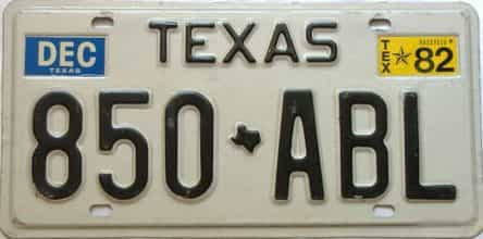 1982 Texas  (Single) license plate for sale