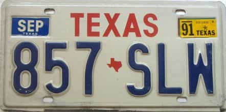 1991 Texas  (Single) license plate for sale