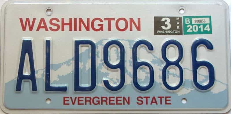 2014 Washington  (Single) license plate for sale