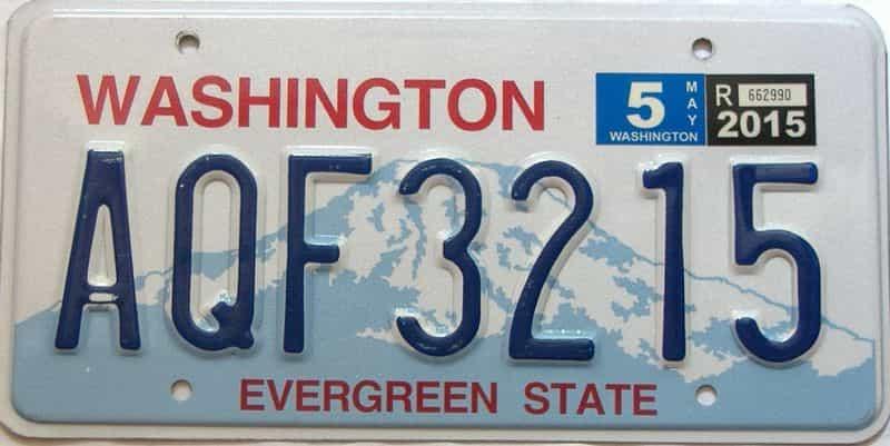2015 Washington  (Single) license plate for sale