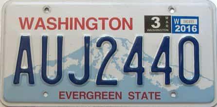 2016 Washington  (Single) license plate for sale