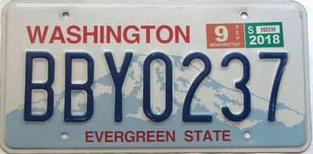 2018 Washington  (Single) license plate for sale