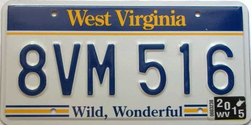 2015 West Virginia license plate for sale