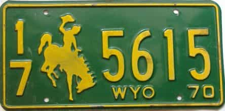 1970 Wyoming  (Single) license plate for sale