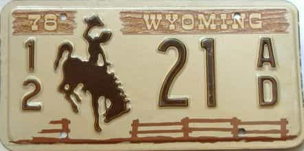 1978 Wyoming  (Single) license plate for sale
