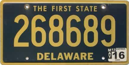 2016 Delaware license plate for sale
