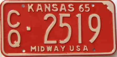 1965 Kansas license plate for sale