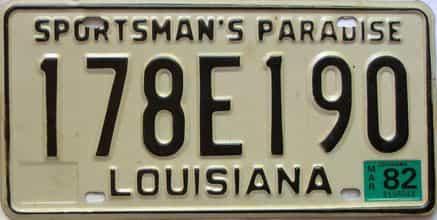 1982 Louisiana license plate for sale