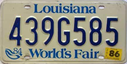 1986 Louisiana license plate for sale