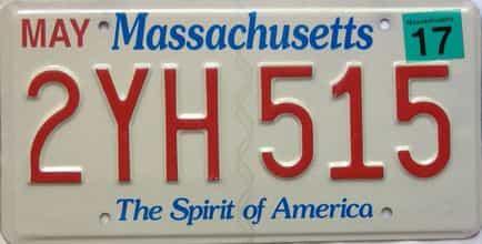 2017 Massachusetts  (Single) license plate for sale