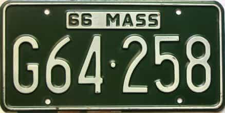 1966 Massachusetts  (Single) license plate for sale