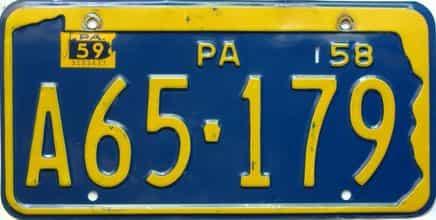 1959 Pennsylvania license plate for sale