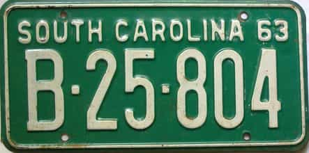 1963 South Carolina  (Single) license plate for sale