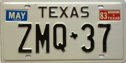 1983 Texas  (Single) license plate for sale
