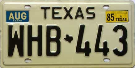 1985 Texas  (Single) license plate for sale