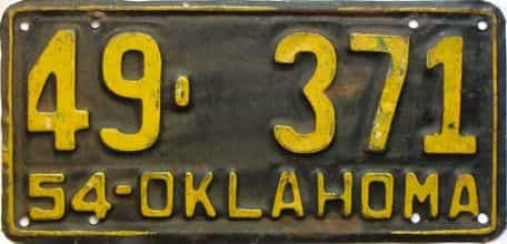 1954 Oklahoma license plate for sale