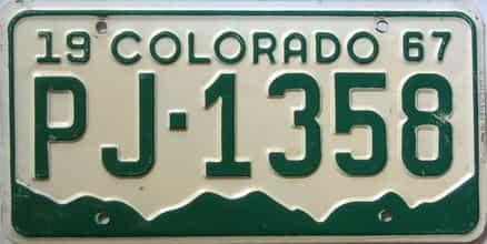 1967 Colorado  (Single) license plate for sale