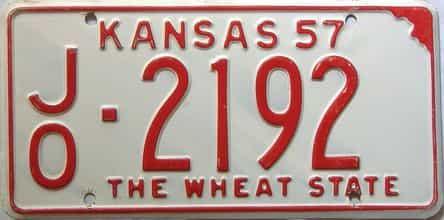 1957 Kansas license plate for sale