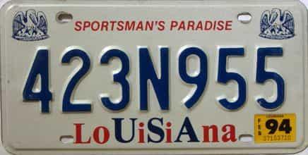 1994 Louisiana license plate for sale