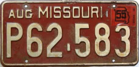 1955 Missouri license plate for sale