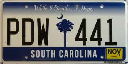 2018 South Carolina license plate for sale