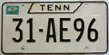 1976 Tennessee  (Single) license plate for sale
