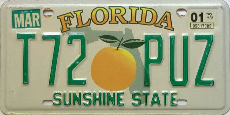 2001 Florida license plate for sale