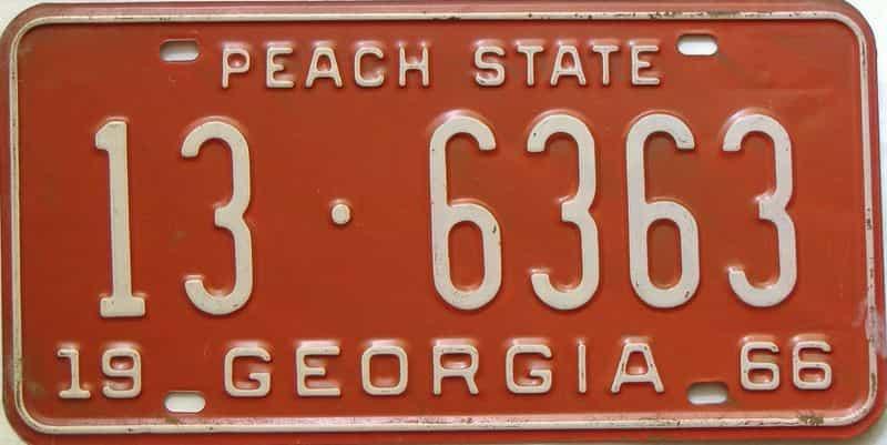 YOM 1966 Georgia (Clayton) license plate for sale