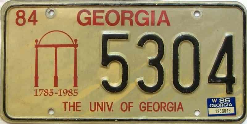 1986 Georgia license plate for sale
