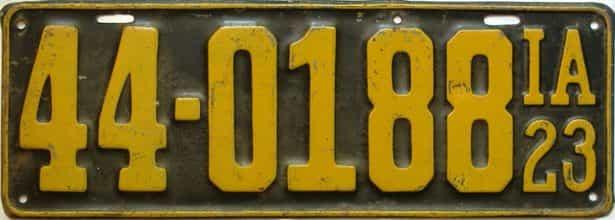 1923 Iowa  (Single) license plate for sale