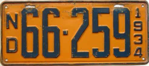 1934 North Dakota  (Single) license plate for sale