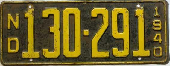 1940 North Dakota  (Single) license plate for sale