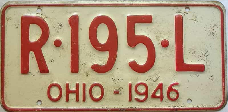 1946 Ohio license plate for sale