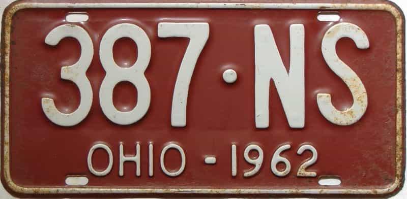 1962 Ohio  (Single) license plate for sale