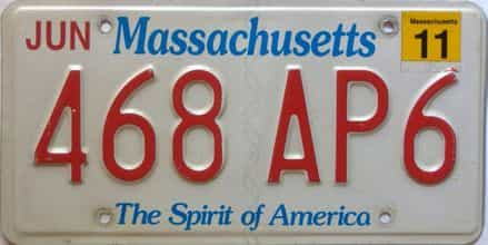 2011 Massachusetts  (Single) license plate for sale