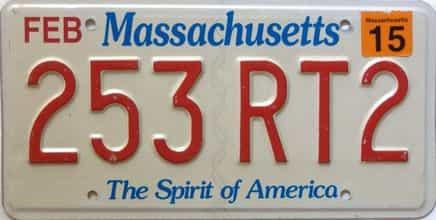 2015 Massachusetts  (Single) license plate for sale