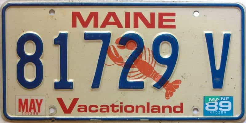 1989 Maine  (Single) license plate for sale
