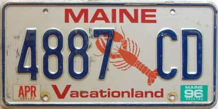 1996 Maine  (Single) license plate for sale