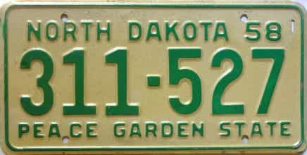 1958 North Dakota  (Single) license plate for sale