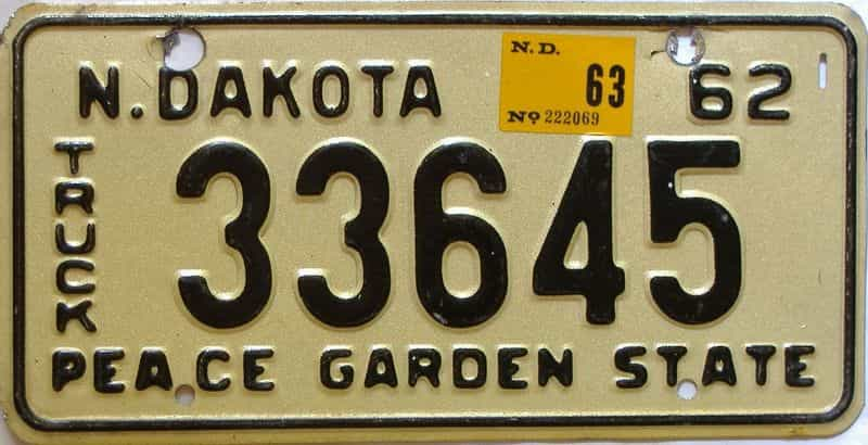 1963 North Dakota  (Single) license plate for sale