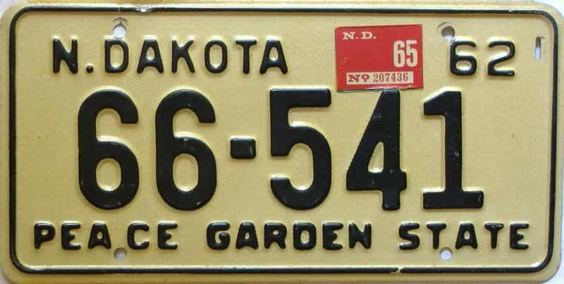 1965 North Dakota  (Single) license plate for sale