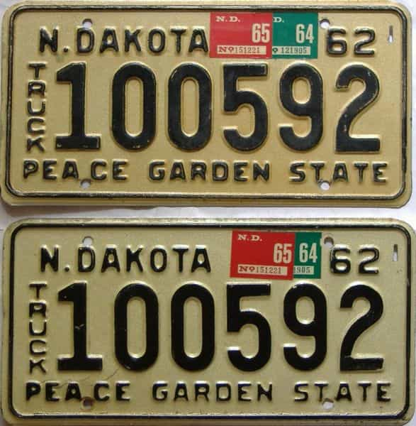 1965 North Dakota  (Truck) license plate for sale