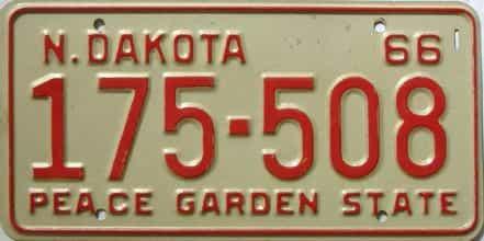 1966 North Dakota  (Single) license plate for sale