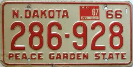 1967 North Dakota  (Single) license plate for sale