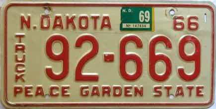 1969 North Dakota  (Truck) license plate for sale