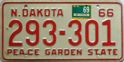 1969 North Dakota  (Single) license plate for sale